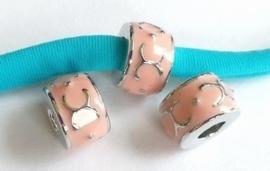 Per stuk European Jewelry kraal metaal met licht-roze epoxy antiek zilver 11 mm