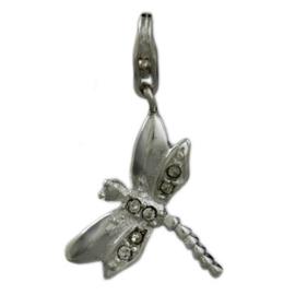 Libelle met 2 vleugeltjes van strass  925 Sterling Zilveren Bedel met karabijnsluiting