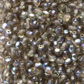 30  x ronde Tsjechië facet kristal kraal afm: 4mm Kleur: ab zilver gat c.a.: 1mm
