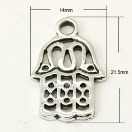 4 x Tibetaans zilveren bedeltje van een Hamsa Hand 14 x 21,4 x 1,5mm Gat: 2,5mm
