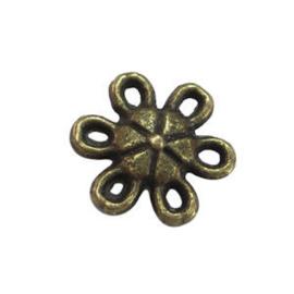 5 x Metalen bedel tussenstuk Bloem Antiek Brons 9 mm