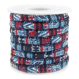 20 cm Trendy gestikt koord 6x4mm Multicolor dark blue-red