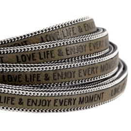 20 cm Quote imi leer 10mm met schakelketting zilver Love life Olive green ♥