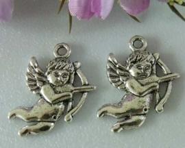 4 x Engel bedel Tibetaans Zilver 22 x 15mm