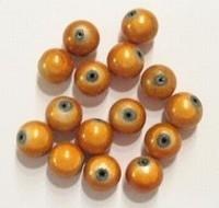 10 stuks 3D miracle kraal,  oranje rond 8mm gat c.a. 1,5mm