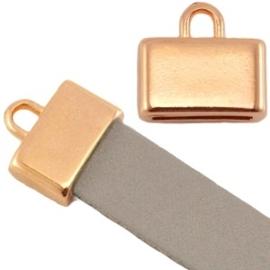 DQ metaal eindkapje vierkant (voor 5/10mm plat leer/aztec) Rosé goud (nikkelvrij)  ca. 13x12mm (Ø10x2mm)