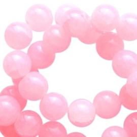 20 x Crackled opal glaskralen 8 mm Pink