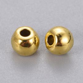 """10  stuks DQ """"gouden"""" kraaltjes, metaal nikkelvrij 5mm gat 1,5mm"""