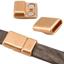 1x DQ metaal magneetslot (DQ leer plat 10mm) Rosé goud