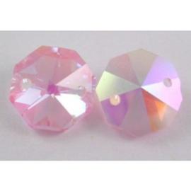 Glas facet octagon 14 mm rose AB. Prijs per stuk, met 2 gaatjes (op is op!)