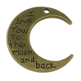 5 x bedel hanger love you to the moon and back  28 x 30 x 2,5mm gat: 2mm geel koper kleur