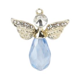Metalen en Crystal hanger bedel engel met strass blauw 28mm x 25mm oogje 1,5mm