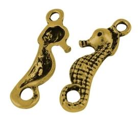6 x  Tibetaans zilveren zeepaardje 23 x 7 x 2mm gat: 2mm goudkleur