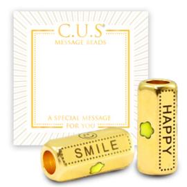 "1 x C.U.S® sieraden message beads ""smile and happy"" & star Goud (nikkelvrij)"