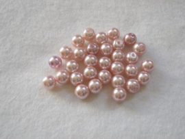 30 x prachtige glasparel 8mm Gat: 1mm kleur: Roze