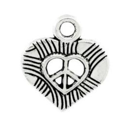 4 x Metalen Bedel Hart Peace Antiek Zilver 17x16 mm ♥