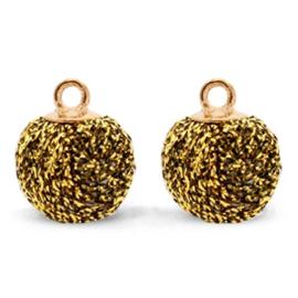 2 x  Pompom bedels met oog glitter 12mm Gold brown-gold
