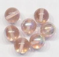 10 x  Glaskraal rond transparant Zalm-roze AB 12 mm