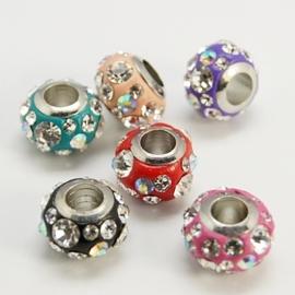 5 x Prachtige European Jewelry kraal met bergkristal mix, verzilverd, erg mooi!! 11 x 8mm Gat: 4mm