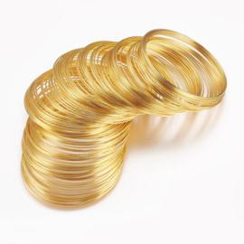 Memory Wire voor armbanden 60 mm x 0,6mm goud kleur 40 wendingen (nikkel vrij)