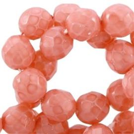 10 x Facet kralen Tjechisch DQ pastel 8mm Coral rose