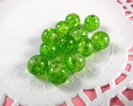 30 stuks crackle glas kralen 8mm groen