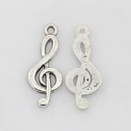 10x Tibetaans zilveren muzieknoot  26 x 10 x 2mm Gat: 2mm