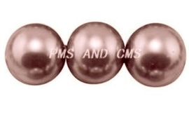30 x prachtige glasparel kleur: RosyBrown 8mm