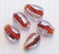 Per stuk Glaskraal India druppelvorm Rood-zilverfolie 17 mm