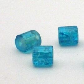 30 stuks crackle glas kralen cilinder vorm 7 x 8mm turquoise