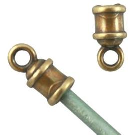 2 x Metalen DQ eindkap (voor 2 mm leer) Antiek Brons ( nikkelvrij )