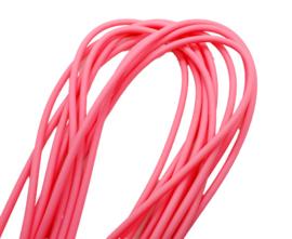 100 cm hol Rubber DQ koord 4mm per meter geknipt fluor roze
