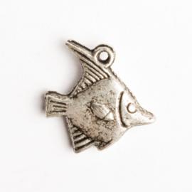 6 x metalen bedel vis zilver kleur 17,5 x 17 mm oogje: 1mm