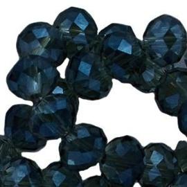 15 x Topfacet 8x6 mm Dark Blue Montana Grey