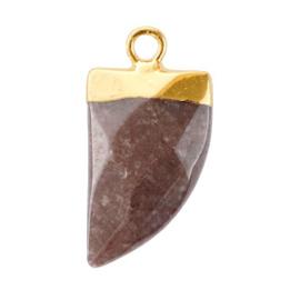 1 x Natuursteen hangers tand Hawthorn rose-gold