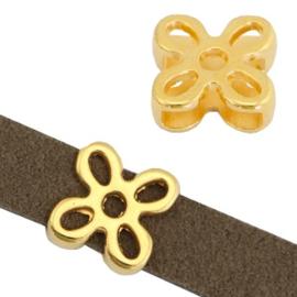 Schuivers DQ metaal flower Ø10.5x2.5mm goud (nikkelvrij)