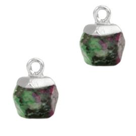 1 x Natuursteen hangers hexagon Marble green-silver African Turquoise
