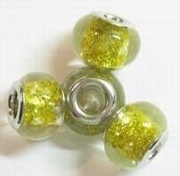 Per stuk Glaskraal European-style Goud met glitters 14 mm