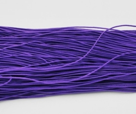 8 meter rond elastisch koord van rubber voorzien van een laagje stof 1mm paars