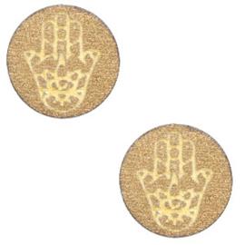 1 x Houten cabochon Hamsa hand van Fatima 12mm Gold