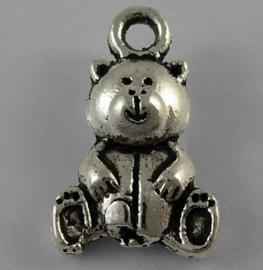 10 x Tibetaans zilveren bedel van een beertje 16 x 10 x 5 gat 2mm