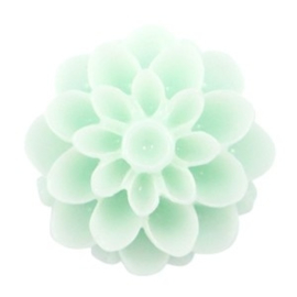 2 x Dahlia bloem kralen 14 mm shiny Light mint green