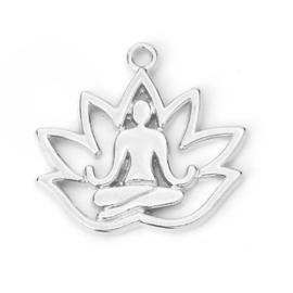 1x DQ metaal bedel lotus zilverkleur (nikkelvrij) 8 x 17mm oogje 1.1mm