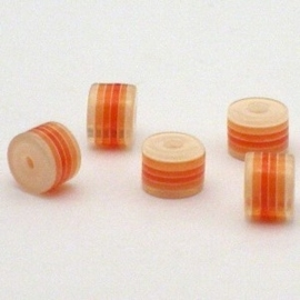 25 st.  Acryl cilinder regenboog kraal  6x8mm