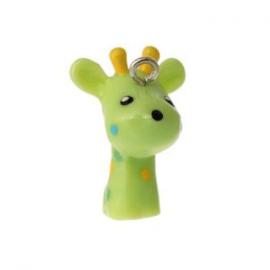 2 x Kinderkralen Bedel Giraffe groen 28x21 mm
