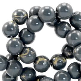 15  stuks  6 mm glaskralen drip-art Donker blauw grijs