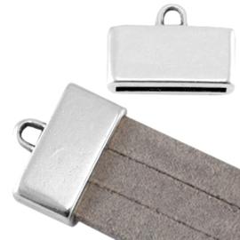 Per stuk DQ DQ metaal eindkap met oog (voor 3 x 5 mm plat leer/aztec) Antiek zilver  Maat: ca. 18x13mm (Ø15x2mm)