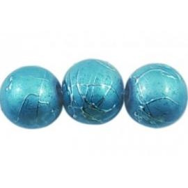 25 stuks Glaskraal rond blauw gemêleerd 8 mm gat: 1mm
