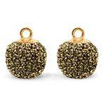 2 x  Pompom bedels met oog glitter 12mm Gold anthracite-gold