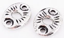 10 x  Antiek zilveren metallook tussenzetsel verdeler 23 mm